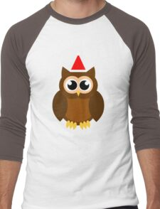 A Very Hooty Christmas (no text) Men's Baseball ¾ T-Shirt