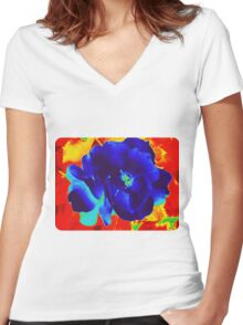 Cool Rose in Fire Women's Fitted V-Neck T-Shirt