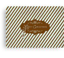 Merry Christmas Chocolate Blue Stripe Canvas Print