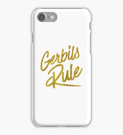 Gerbils Rule Gold Faux Foil Metallic Glitter Quote iPhone Case/Skin
