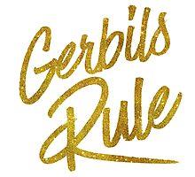 Gerbils Rule Gold Faux Foil Metallic Glitter Quote Photographic Print