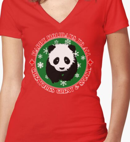 PANDA BEAR Happy Holidays Women's Fitted V-Neck T-Shirt
