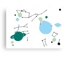 Stars and Planets - Green and Blue Canvas Print