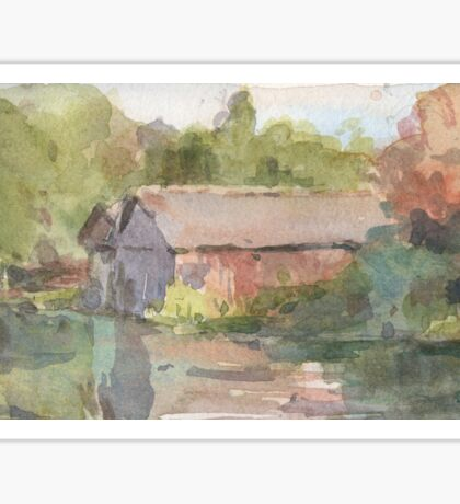 Boathouses - An Autumnal River Sticker