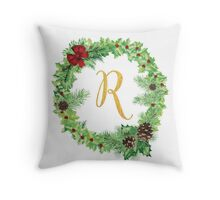 Christmas Monogram R Throw Pillow