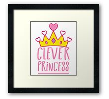 Clever princess with royal crown Framed Print