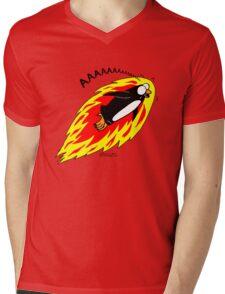 Flaming Flying Screaming Penguin Mens V-Neck T-Shirt