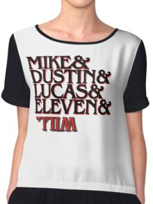 mike, dustin, lucas, eleven, will stranger things Chiffon Top