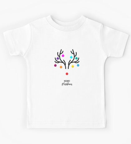 Abstract Christmas deer with red nose Kids Tee