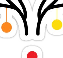 Abstract Christmas deer with red nose Sticker