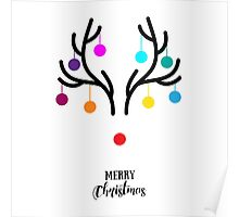 Abstract Christmas deer with red nose Poster