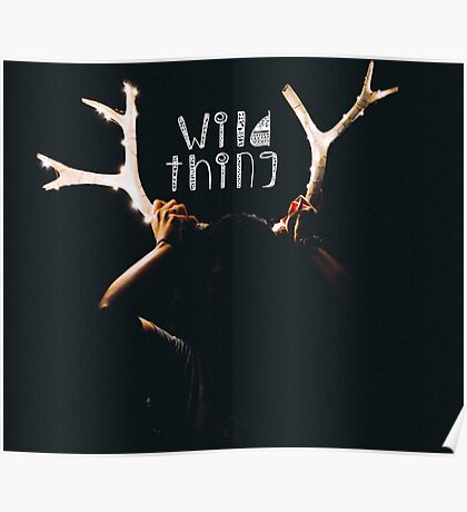 Girl Holding Deer Antlers with String Lights Poster