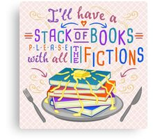 Readers Writers Humor Stack of Books with Fictions Canvas Print