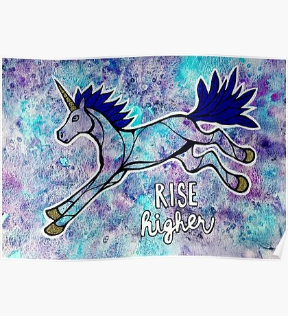 Rise Higher. Original Unicorn Watercolor Illustration. Poster