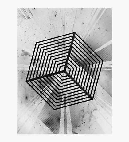Abstract Geometric Cube Grayscale Photographic Print