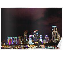 Miami City Lights Bokeh Poster