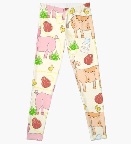 Print for meat eaters. Cartoon farm animal. Pig, cow and chicken. Leggings