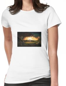 Rural Church Illuminated Womens Fitted T-Shirt