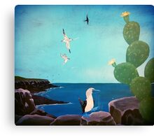 Beautiful Blue Ocean Birds Painting  Canvas Print