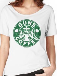 I Love Guns and Coffee! Not the Starbucks logo. Women's Relaxed Fit T-Shirt