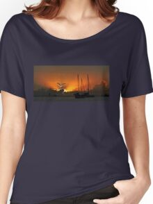 Seagull & Yacht Silhouette at Dawn. Women's Relaxed Fit T-Shirt