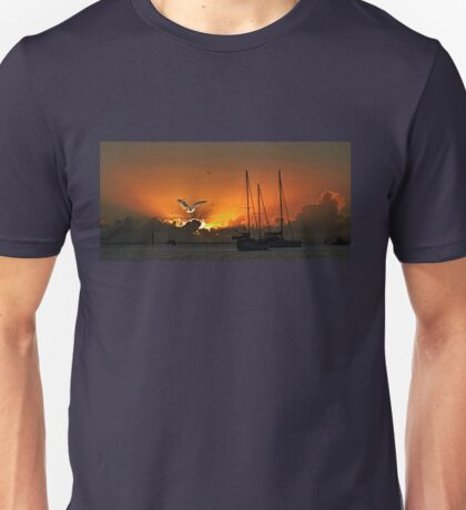 Seagull & Yacht Silhouette at Dawn. Unisex T-Shirt