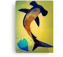 Wild Hammerhead Shark Painting  Canvas Print
