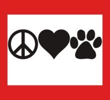 Peace Love Dog paw Kids Tee