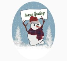 A Snowman with Season Greetings Kids Clothes
