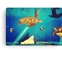 Beautiful Sea Turtles Underwater Painting  Canvas Print