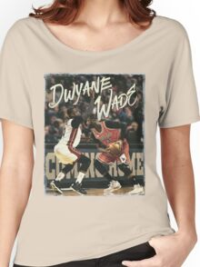 Dwyane Wade Miami to Chicago Basketball Artwork Women's Relaxed Fit T-Shirt