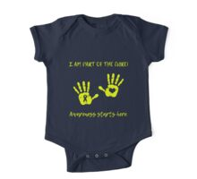 Handprints - Yellow One Piece - Short Sleeve
