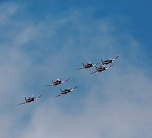RAAF Roulettes over Hobart Tasmania 15 Sep 2014 by Odille Esmonde-Morgan