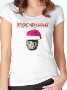 HARAMBE MERRY CHRISTMAS HAPPY HOLIDAYS Women's Fitted Scoop T-Shirt