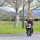 Motorcyclist riding through trees by hulkingrach