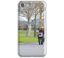 Motorcyclist riding through trees iPhone Case/Skin