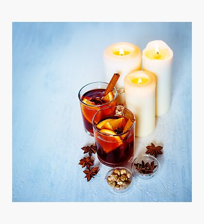 Mulled Wine with Christmas Decorations Photographic Print