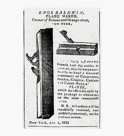 Enos Baldwin, Plane Maker New York City Advertisement 1825 Photographic Print