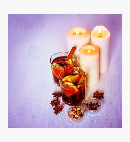 Christmas Decorations with Mulled Wine Photographic Print