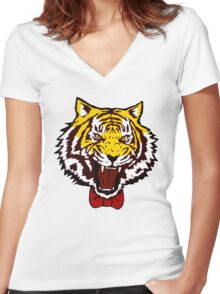 yuri tiger high resolution vector Women's Fitted V-Neck T-Shirt