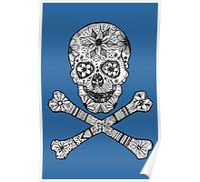 Floral Skull & Crossbones Hand Drawn Blue Poster