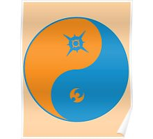 Sun and Moon Yin and Yang Color Poster