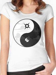Sun and Moon Yin and Yang Women's Fitted Scoop T-Shirt
