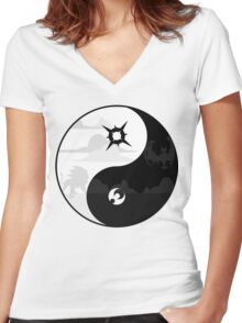 Sun and Moon Yin and Yang Women's Fitted V-Neck T-Shirt