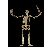 Black Sails Pirate Flag Skeleton - Worn look Photographic Print