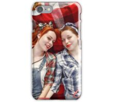 Young Beautiful Smiling Girls Dressed in Pin Up Style iPhone Case/Skin