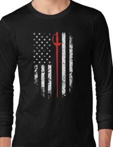 Vintage Fencing American Flag Long Sleeve T-Shirt