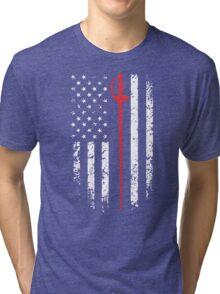 Vintage Fencing American Flag Tri-blend T-Shirt