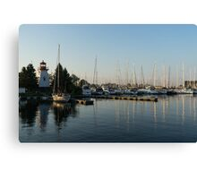 Lighthouse Morning at the Yacht Club Canvas Print