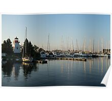 Lighthouse Morning at the Yacht Club Poster